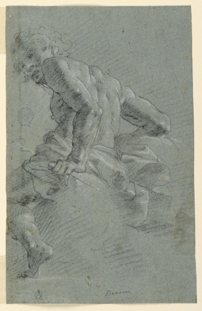 Figure turned toward left with head turned toward spectator.