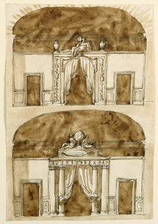 Drawing, Alcove side of a room