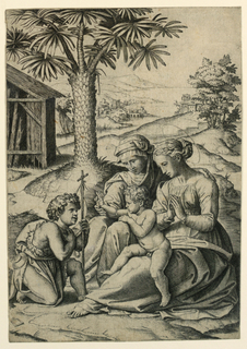 In right foreground, the Virgin seated in three-quarter view. Child upon her knees facing left. Saint Elisabeth seated at left. Saint John kneeling faced to right. Left, mid-distance, a palm tree. In background, a river, houses, mountains.