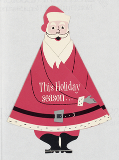 Card in the shape of Santa Claus. His body is roughly triangular. The card opens in two wings, each represented by one half of his body. Christmas card from Milium Metal