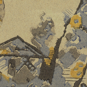 Irregular fragment showing blue and yellow bird on branch surrounded by stylized cloud forms above a small bird house with pitched roof. Leaf and flower forms are included.