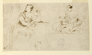 At left, a sketch of a seated female figure viewed in profile, facing left. At right, a mother and child. At lower center, a partially sketched face of a woman.