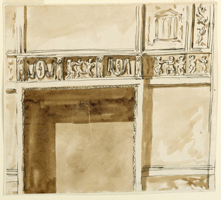 Drawing, Lower part of wall with a fireplace
