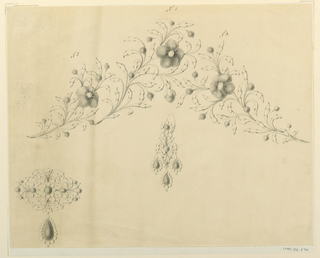 Drawing, Design for an earring, brooch and fillet, 1830–40