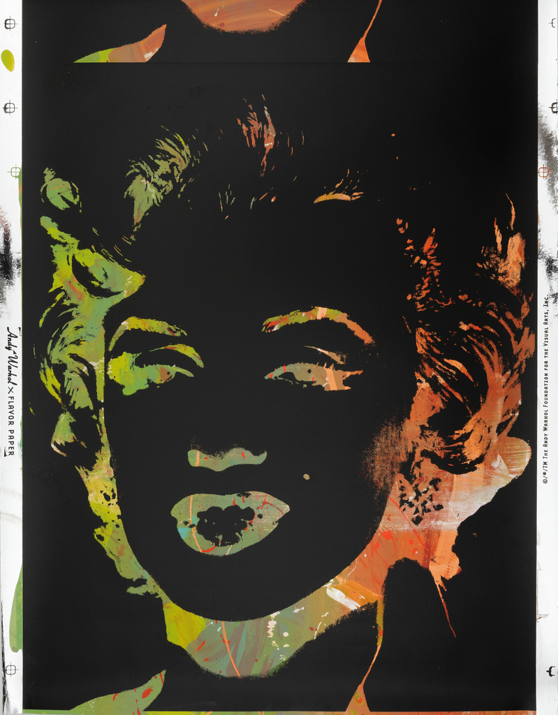 The silhouette of Marilyn Monroe printed in black on a multi-color brightly hued ground. The printed silhouette remains the same while the painted background colors remain similar but vary for each repeat.