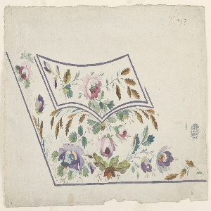 Design for a man's waistcoat or gilet pocket featuring pink and purple flowers with green and brown leaves. A pink flower is positioned in the center of the pocket flap. Below the center of the flap two pink flowers appear, with a purple flower on either side. Flowers also appear to the left of the pocket flap. Purple edges delineate the waistcoat pocket and pocket flap.