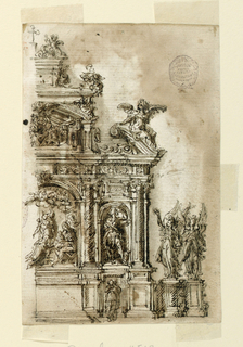 Right half of alter shown. In the center is a sculptural representation of the Adoration of the Kings. In the lateral compartment is a niche with a statue of Saint Roche. Below it is a relief of a female saint.