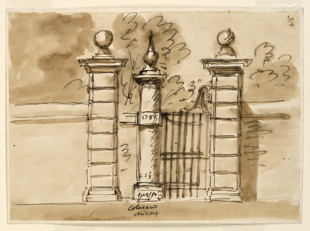 Drawing, Gate in the wall of a park, with alternate suggestions