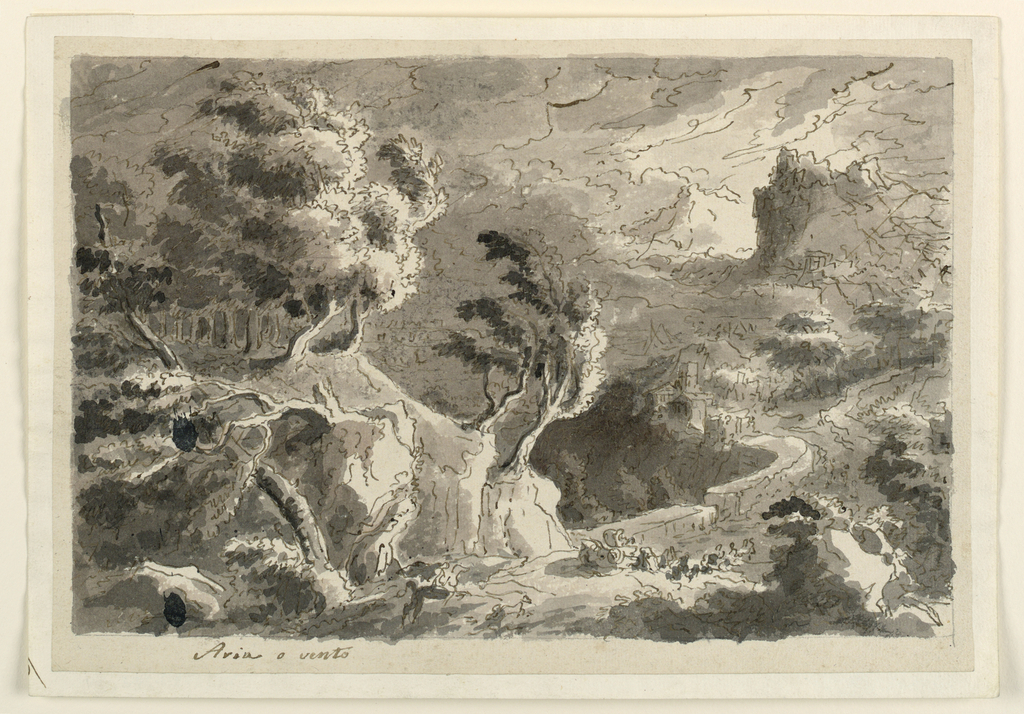 Horizontal rectangle. Road winding between hills with ragged trees, houses in background, carriage in foreground. Stormy atmosphere.