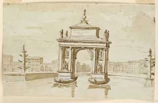 Horizontal rectangle. The arch rises from two barges. Corinthian columns support the entablature. Above stands a pedestal upon steps. Statues stand at the corners of teh lowest one. On top is a group. The complicated plan of the basin is incompletely shown. Rostral columns stand at its corners which are flanking the arch. Houses at the square surrounding the basin and of a street are shown in the background.