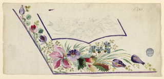 Design for the embroidery of the left bottom part of a man's waistcoat. Lilac edges. Bunches of flowers decorate the flap of the pocket and the field beneath it. Leaves and flower boughs grow from the edge in the bottom angle and at the rising side of the waistcoat. Verso: Blotter of a part of an indistinct design: flower?