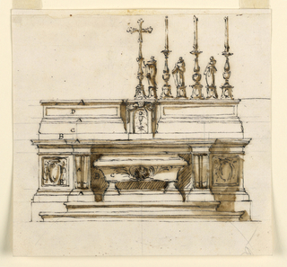 "Horizontal rectangle. The sepulchrum in the shape of a sarcophagus, marked with ""C"", stands in the hollow ""B"" of the mensa. Beside are panels with a prelate's escutcheons; the left one is marked ""B"". The dividing console is twice marked ""A"". In the center of the altar furniture is the tabernacle, with the crucifix standing upon it. Beside it, at right, alternate three statuettes of saints with three candelabra. The mouldings of the furniture are marked at left from the bottom to the top: ""A B C A D A""."