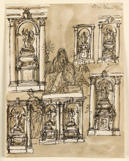 Drawing, Eight tombs