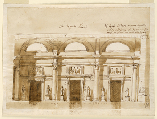 Horizontal rectangle. The hall has a barrel vault, three compartments. A half-circular window is in each of them, above the entablature. Four Corinthian columns are the supports. In the intercolumniation are doors. The entablature of their frames are connected by entablatures. The overdoors have the shape of oblongs. The fill the space between the lower and the upper entablature. Left and right of the doors stand statues upon pedestals. Measurements are inscribed.