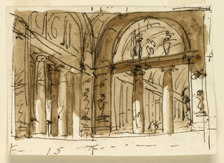 Drawing, Classical palace interior