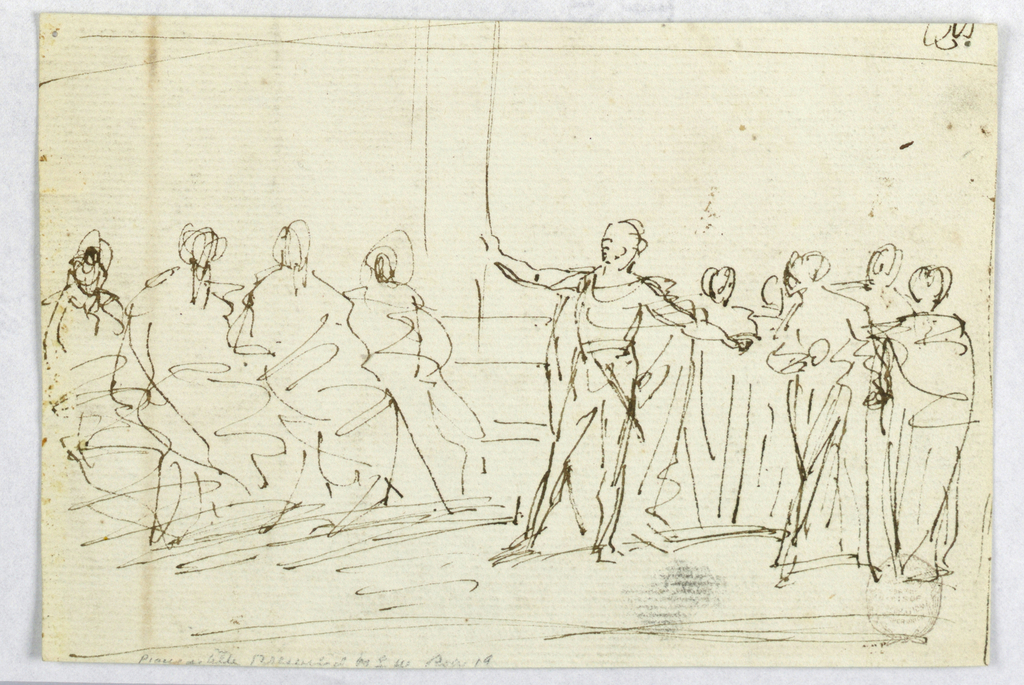 Roughly sketched scene of a standing man with a sword addressing a group of seated figures.
