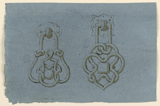 Design for two doorknockers with interlace designs.
