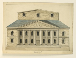 Horizontal format architectural drawing depicting a two-storied facade, with pedimented portico of eight Ionic columns, and behind a sloping roof, an additional story above the stage. Framing line in pen and ink. Probably designed as an engraving for a book.