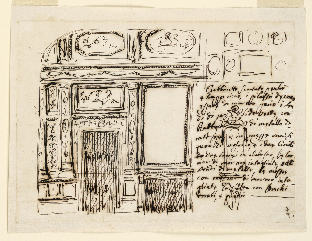 Horizontal rectangle. Below inscription is written at right, below what evidently is a sketch of the decoration of the ceiling, and over a sketch of what seems to be the frame of a niche, with a figure on top. At left is the elevation. A mantelpiece with a looking glass is separated by a pilaster, the decoration of which is described in the caption, from a door, above which is a rectangular representation. On the other side of the door are two pilasters separated by two short panels, one above the other. The entablature has a frieze with festoons. Above the vaulted lower part of the ceiling with an octagonal and an oval representation.