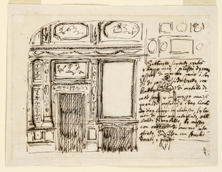 Horizontal rectangle. Below inscription is written at right, below what evidently is a sketch of the decoration fo the ceiling, and over a sketch of what seems to be the frame fo a niche, with a figure on top. At left is the elevation. A mantlepiece with a looking glass is separated by a pilaster, the decoration of which is described in teh caption, from a door, above which is a rectangular representation. On the other side of the door are two pilasters separated by two short panels, one above the other. The entablature has a frieze with festoons. Above the vaulted lower part of teh ceiling with an octagonal and an oval representation.