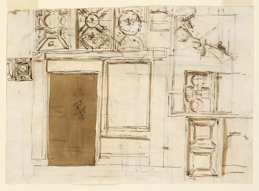 Drawing, Coffered ceiling, panels, door and adjoing wall