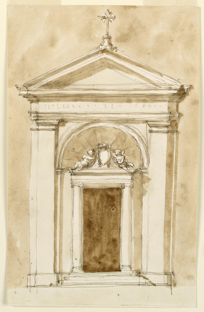 Drawing, Elevation of a chapel