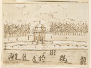 Drawing, Basin with a pavilion in a park