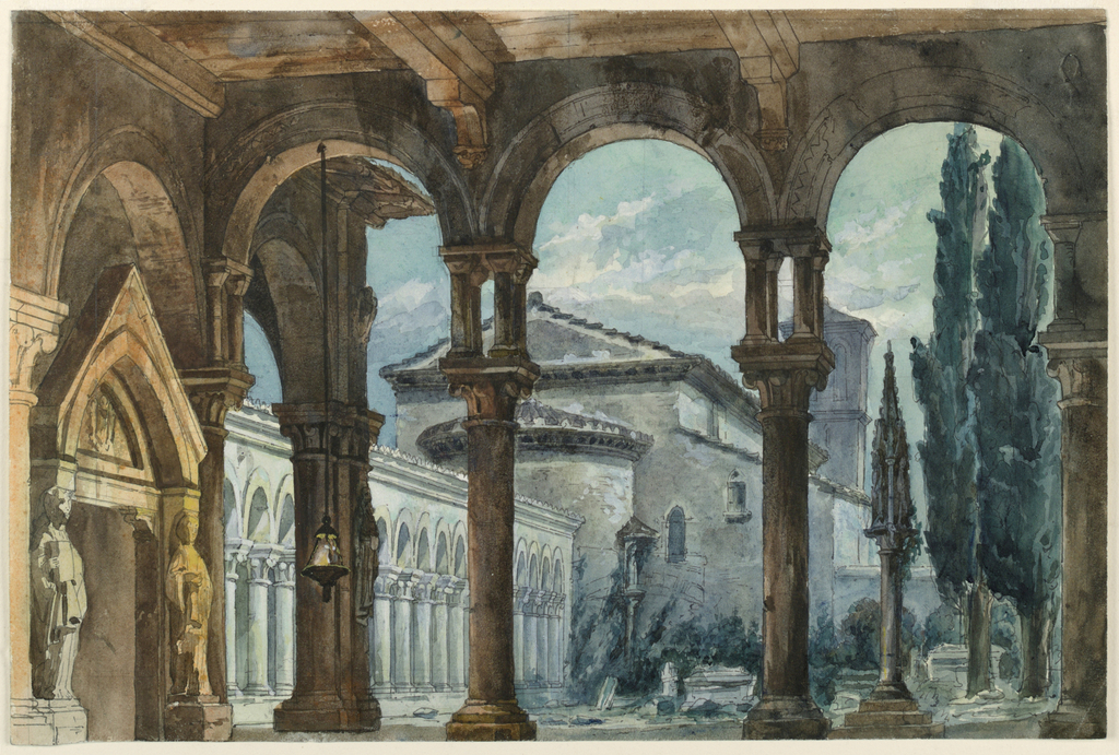 Drawing, Stage Design, Cloister at Night