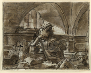 Sketch, Seated Allegory in Architectural Setting.