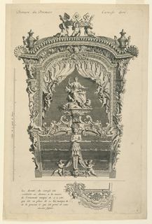 Vertical rectangle. The rear view with a scale, title above, and below, a description and design for variations on the sides and front of the carriage. The carriage was designed for the entrance of His Excellency the Duke d'Ossuna into Utrecht, 1713. On the roof, three putti support a crown, an urn at either side. Below, in a curtained opening, a seated woman, a lion and cornucopia at her feet.