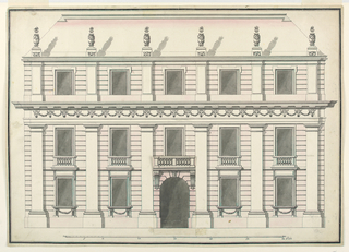 """Project. The elevation of a stately mansion. Three story building, the top floor being separated from the main ones by an entablature showing bucrania connected by festoons in the frieze. Six pilasters form five bays. In the central bay is the gateway. Laterally and over it are windows, the frames of the main floor being connected with each other vertically. French windows with balustrades are suggested for the second floor. B is pasted over the respective part of A and suggests a balcony in front of the central window.  Trapezoidal oblique roof. Six urns stand at its bottom. Below, the scale: """"60 Pieds."""" Framing line and stripe."""