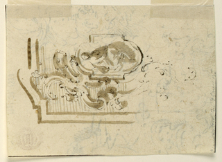 At the upper left is an oblong with hemicycles above and below with a man sitting inside. Outside, a volute motif, intended to be repeated four times with motif of the background left undecorated. At the edges are remnants of a framing line. On the reverse are remnants of sketches in horizontal direction done in pen and ink. Towards the left are a group of heads of size men and the right has two parts of escutcheons.