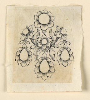 Jewelry design for an earring; the right edge cut irregularly. Earring consists of a bunch of flowers with a round blossom on top, three drop-shaped blossoms hanging down, and three smaller blossoms at center.