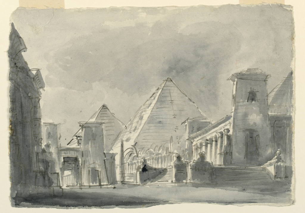 Drawing, Stage Design, Group of Egyptian Buildings from the Exterior