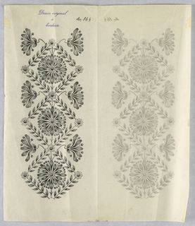 """Vertical rectangle. Designs of abstract floral patterns for panels and borders. Each drawing stamped at top: """"Sessin original a broderie."""" Designs numbered 164 (H)"""