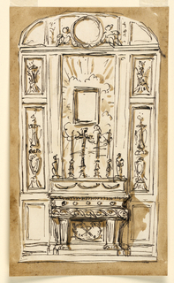 Vertical rectangle. Beside the mensa are panels of the dado. The panel between the support bears a monogram framed by two crossed branches. The altar furniture is decorated at the front with festoons. Above it stand beside a crucifix, at left a candle and a figure; at right two candles and a figure. The figures stand in front of pilaster strips framing the central panel with a frame for a picture, and a glory as background. Above the panels of the dado is a high panel with a, probably carved, candelabrum with a burning fire, and a lower one. The vaulted ceiling has three panels, the central one with two sitting angels beside a circular frame. Colored framing background.