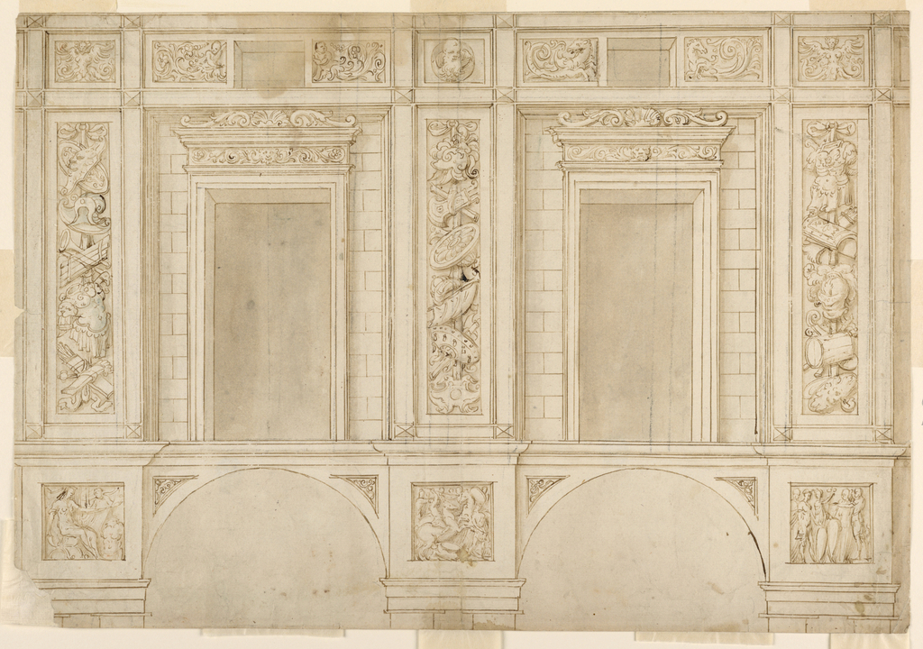 Drawing, Part of a painted facade, 1550–70