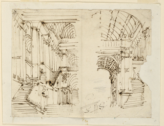 Horizontal rectangle. Detail designs for two different staircases in palace.