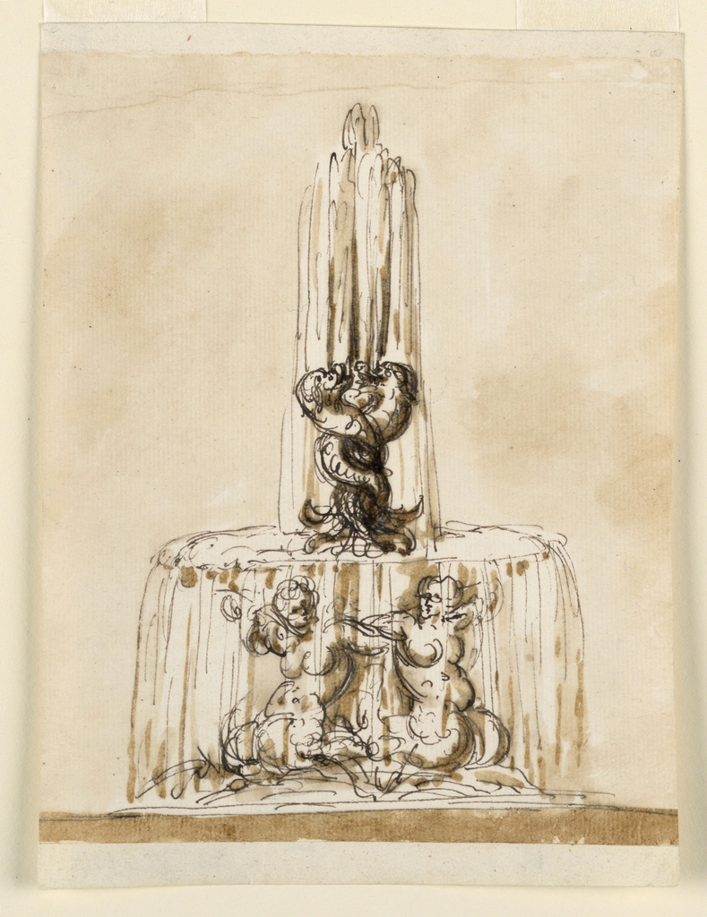 A variation of the fountain in 1901-39-2103. Three mermaids kneeling upon a rocky base support the upper basin. From the mouth of three upright entwined dolphins water springs and flows below.