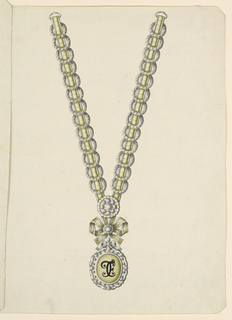 Jewelry design for a necklace. The chain consists of a green ribbon, framed by scallops, over which rings are laid. It is fastened by a disk and ends below with a knot; hanging from it a medallion, having inside a green diamond with the engraved black initials: T C E (or F); on top a small knot. Beveled corners.