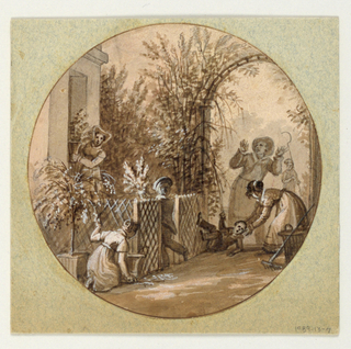 Design for a painted porcelain plate, rondel. A garden setting with an arbor full of trees, right middleground, and a trellised fence around a house/garden building, left foreground.  A figure of a kneeling woman assists a young boy who has falllen to the ground.  Behind them, a gardener raises his arms in exclamation.  A woman stands in the doorway of the house/garden building holding a vase of flowers.  A young boy, left middleground, brings a bunch of flowers to her.  Another kneeling woman, left foreground, fills a vase with flowers.