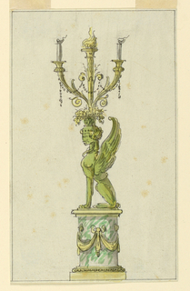 Design for a marble and bronze candelabrum.  On a marble pedestal with bronze swag decoration is mounted a sphinx, seated facing left in profile.  On the head of the figure a basket of flowers form which springs a torch and a two branched candelabrum.