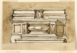 Horizontal rectangle. A variation of the altar in -1373. A tub sarcophagus fills the hollow. The lateral panels are empty. The furniture with the tabernacle is in teh scheme of 1901-39-2625, with a different design of the mouldings. Usual background.