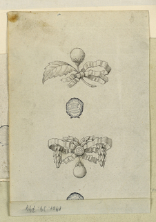 Above a branch with a bud and a leaf, this in balance with a knot entwined with a garland. In the center, a diamond, another in hanging.