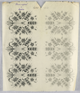 """Vertical rectangle. Designs of abstract floral patterns for panels and borders. Each drawing stamped at top: """"Sessin original a broderie."""" Designs numbered 153 (C)"""