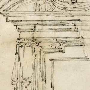 A broken pediment, with ram's head in the center above a drapery supported by the cornices; a crown on top. in the window opening is the upper part of a man with his hands resting upon a horizontal bar. Above some remnants of accounts. On verso: accounts and a sketch of a sleeping nymph; beside are trees.