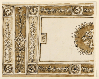 Horizontal rectangle. The left half is shown. An oblong panel with a cross in a border, divided into oblongs and squares, with rosettes in the corners, and above and below the lateral parts of the medallion. In the lateral oblongs rises a sheaf from a calyx. Beside it is another framing strip, with a candelabrum. It as in its center a lozenge with a rosette. Outside is a repetition of the first strip.