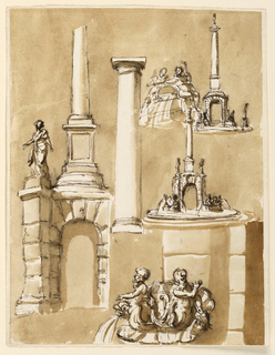Drawing, Fountains; architectural details