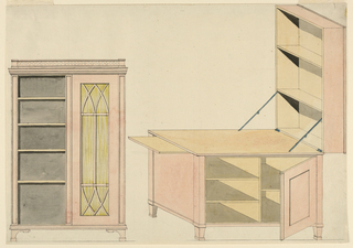 Drawing, Designs for Mechanical Furniture: Bookcase and Shelf Desk