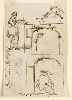 A woman carrying a tray, shown from the right back. Top right: jug with sphinx cover. Half figure of a cleric shown from the back, passing beneath a gateway.